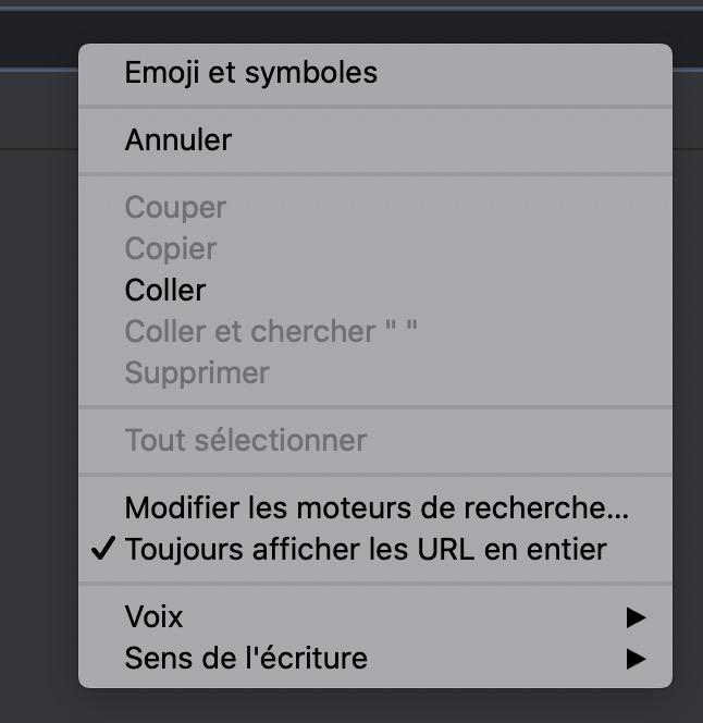 Capture d'écran - menu contextuel barre d'adresse de Google Chrome