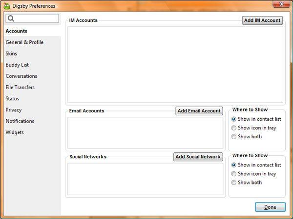 Capture d'écran - Digsby, configuration des préférences