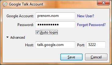Capture d'écran - Digsby, configuration d'un compte GTalk