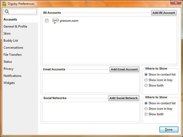 Capture d'écran - Digsby, paramétrage des préférences