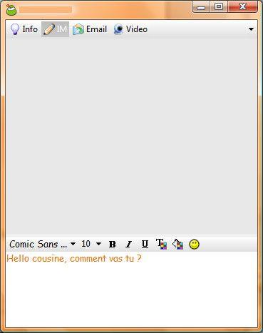 Capture d'écran - Digsby, fenêtre de conversation GTalk