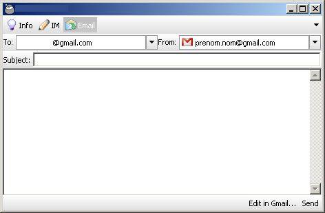 Capture d'écran - Digsby, rédaction d'un courriel Gmail
