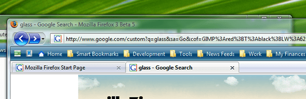 Aperçu de Firefox avec l'extension Glasser