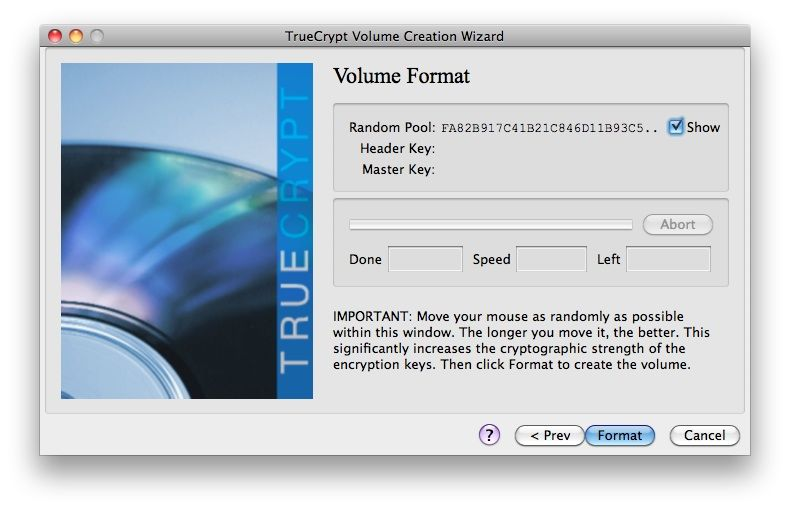 Capture d'écran - TrueCrypt, mouvement de souris requis