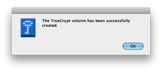 Capture d'écran - TrueCrypt, confirmation de succès