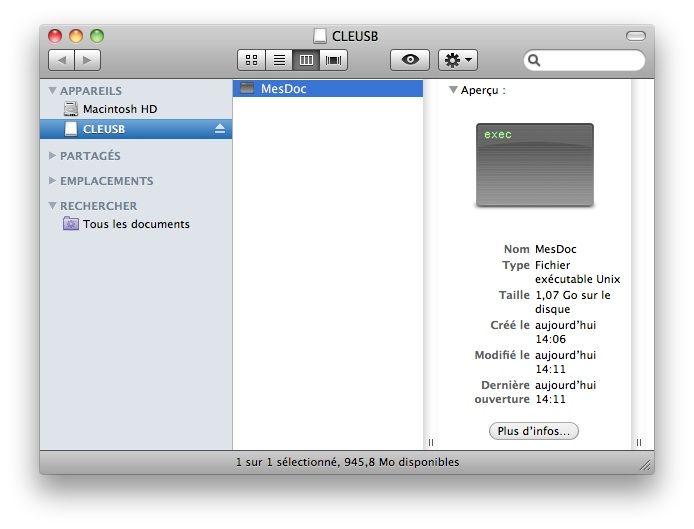Capture d'écran - Dossier crypté présent sur la clé USB