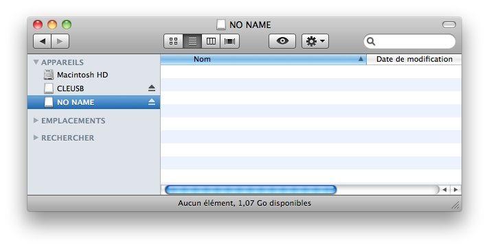 Capture d'écran - Finder, volume NONAME