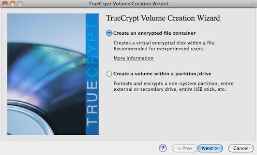 Capture d'écran - TrueCrypt, assistant de création du volume