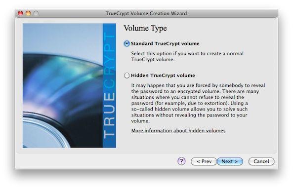 Capture d'écran - TrueCrypt, choix du type de volume