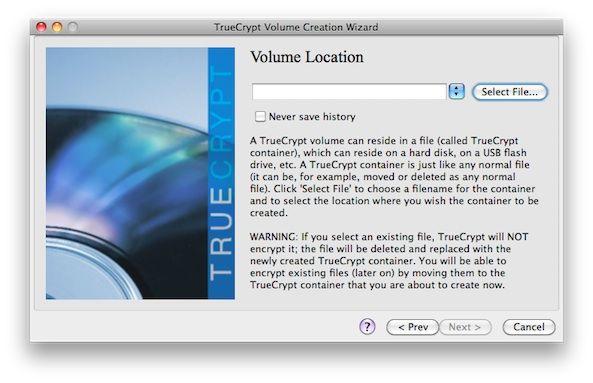 Capture d'écran - TrueCrypt, emplacement du volume