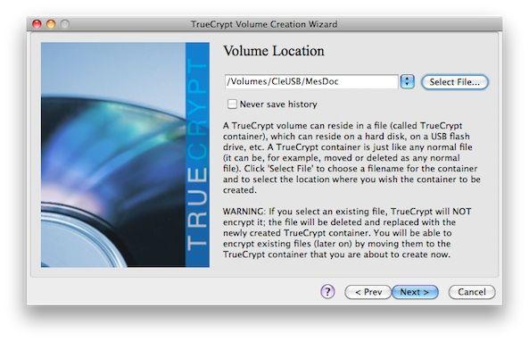Capture d'écran - TrueCrypt, confirmation de l'emplacement choisi