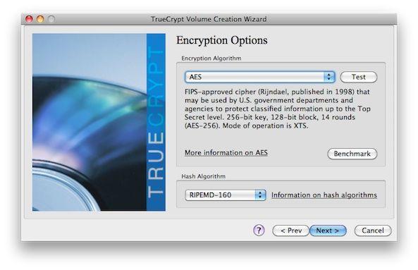 Capture d'écran - TrueCrypt, options de cryptage