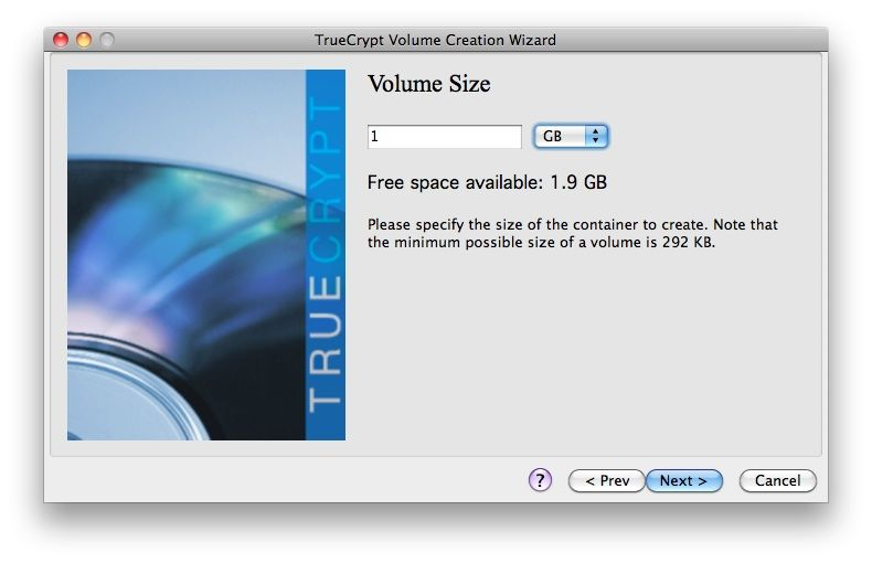 Capture d'écran - TrueCrypt, taille du volume
