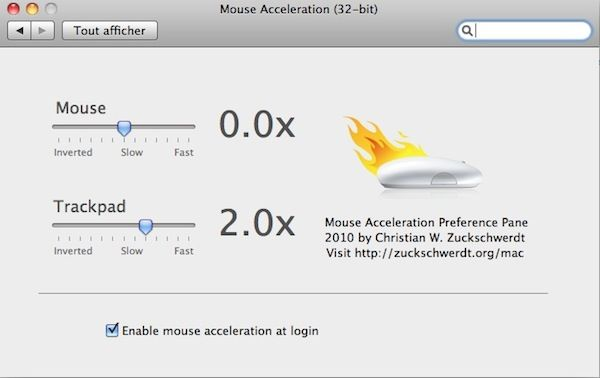 Capture d'écran - Options de configuration de Mouse Acceleration