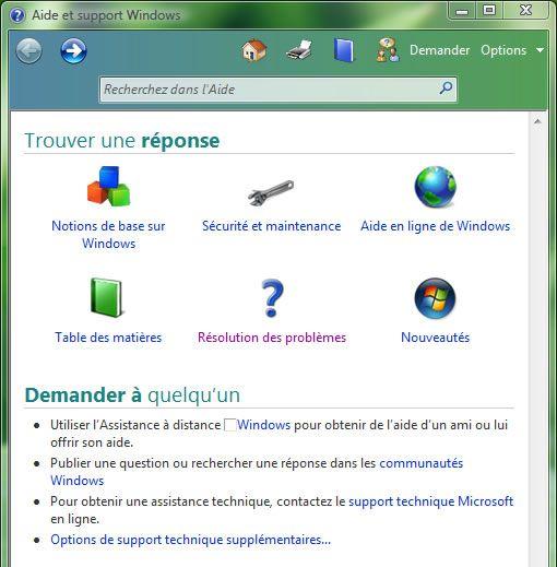 Capture d'écran - Windows Vista, Aide et support Windows