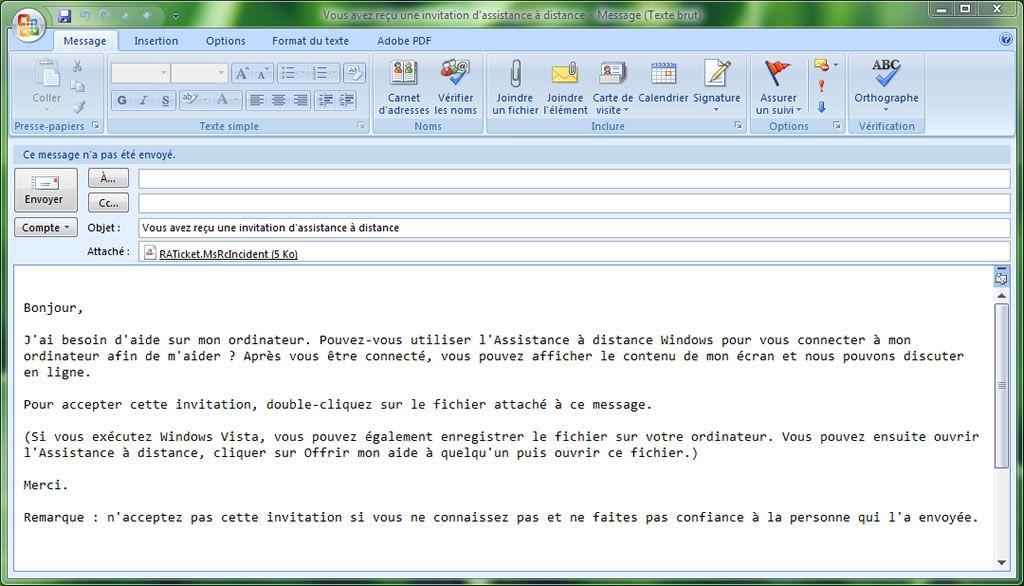 Capture d'écran - Outlook 2007, génération du message d'invitation