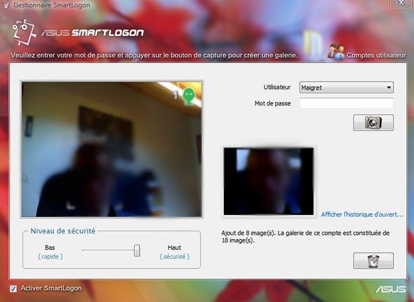 Capture d'écran - Gestionnaire Asus SmartLogon