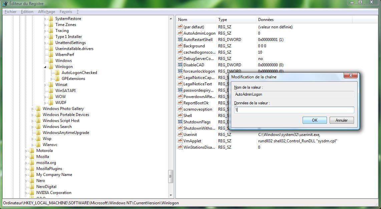 Capture d'écran - Editeur du Registre, modification d'une chaîne