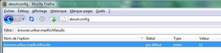 Capture d'écran - Firefox 3, recherche d'une entrée dans about:config