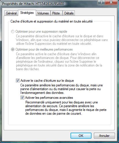 Cache décriture du disque dur