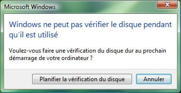 Capture d'écran - Vérification des disques à l'aide de CHKDSK