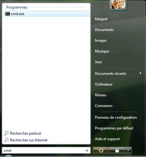 Capture d'écran - Menu Démarrer, saisie de la commande cmd.exe