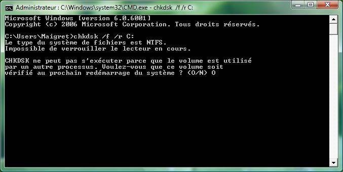 Capture d'écran - Vérification des disques via l'Invite de commandes