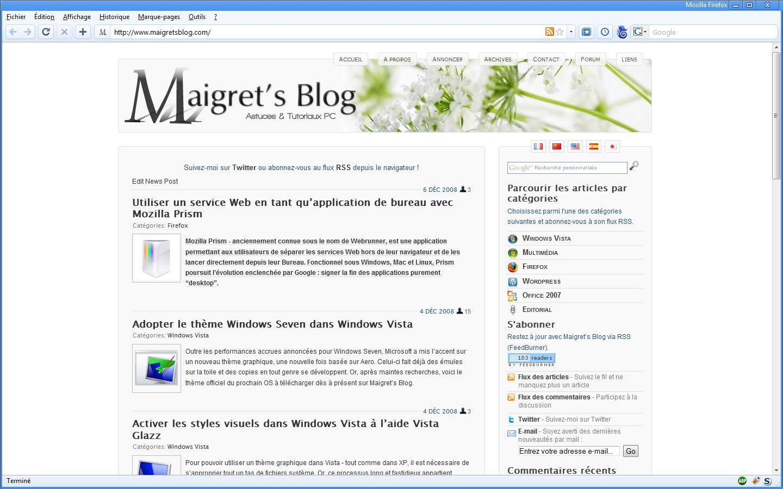 Capture d'écran - Thème Chromifox Package dans Firefox 3