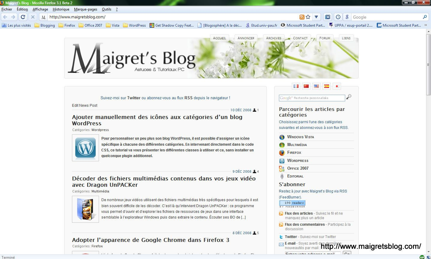 Capture d'écran - Thème Chromifox 2 dans Firefox 3.1