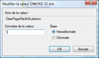 Modification de la valeur : ClearPageFileAtShutdown