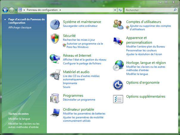 Capture d'écran - Panneau de configuration en mode Page d'accueil