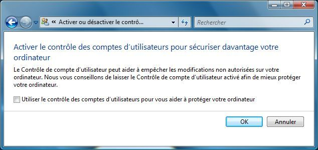 Capture d'écran - Activer ou désactiver le contrôle des comptes d'utilisateurs