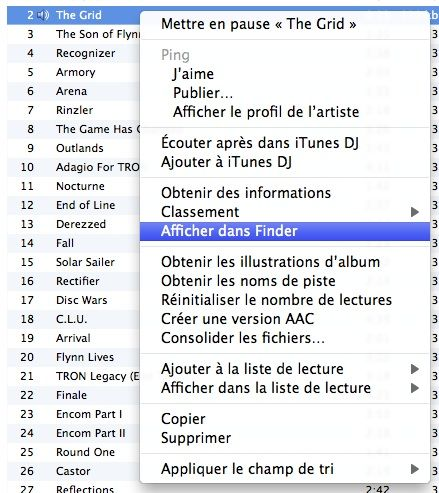 Capture d'écran - Menu contextuel iTunes, Afficher dans le Finder