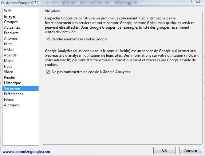 Capture d'écran - CustomizeGoogle
