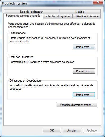 Capture d'écran - Paramétres de démarrage et de récupération