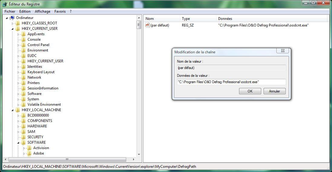 Capture d'écran - Editeur du Registre, recherche de clé