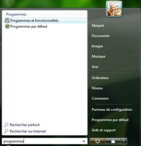 Capture d'écran - Menu Démarrer, recherche des Programmes et fonctionnalités