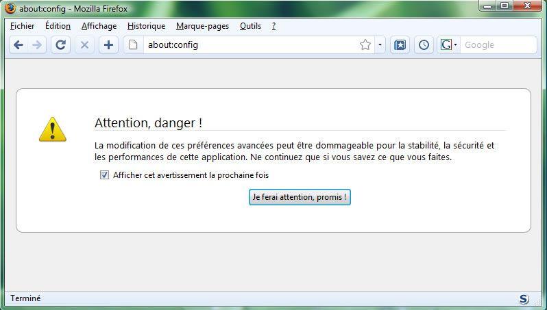 Capture d'écran - Firefox 3, avertissement de précaution