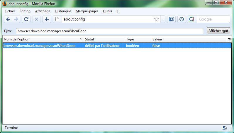 Capture d'écran - Firefox 3, about:config