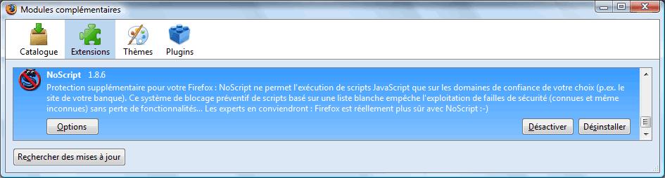 Gestion des modules complémentaires dans Firefox