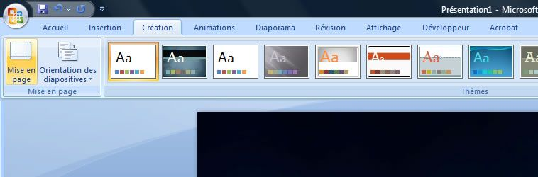 Capture d'écran - PowerPoint 2007, choix de mise en page