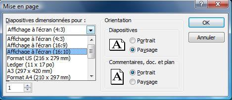 """Capture d'écran - PowerPoint 2007, choix d'une dimension dite """"large"""""""