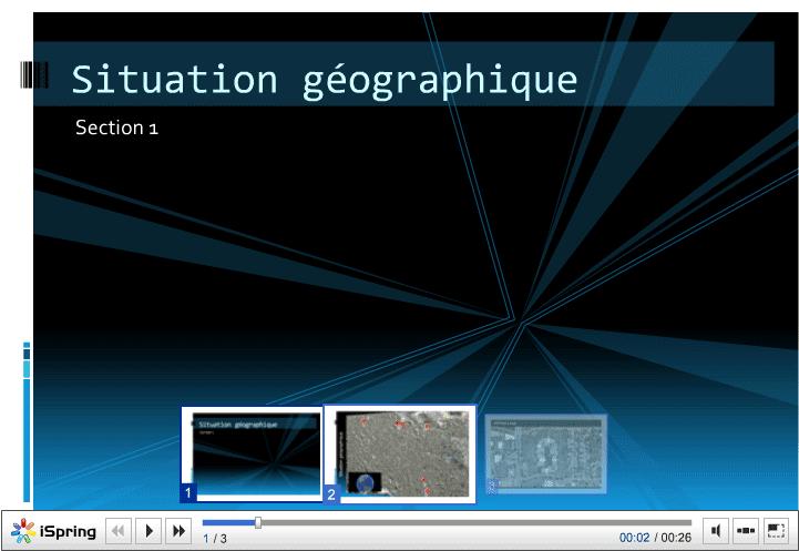 Fichier PowerPoint converti en Flash et intégré dans une page HTML - iSpring, add-on pour PowerPoint 2007