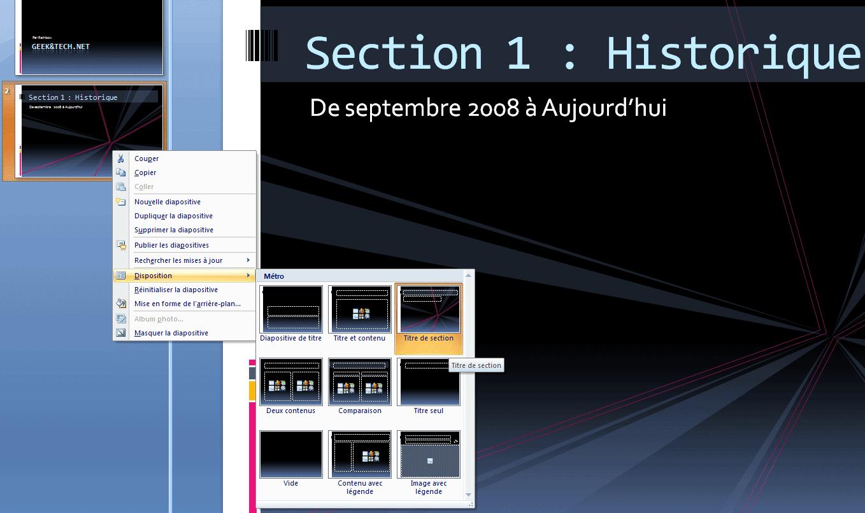 Un clic-droit sur une diapositive permet également daccéder au menu Disposition