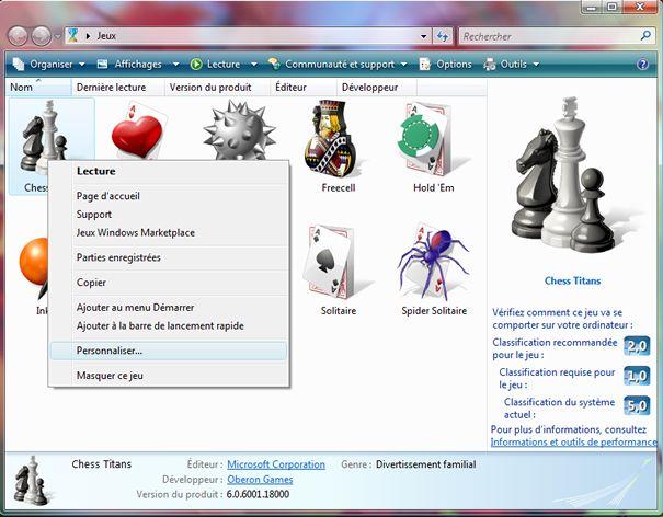 Capture d'écran - Dossier Jeux dans Windows Vista