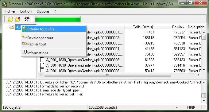 Capture d'écran - Utilisation de Dragon UnPACKer