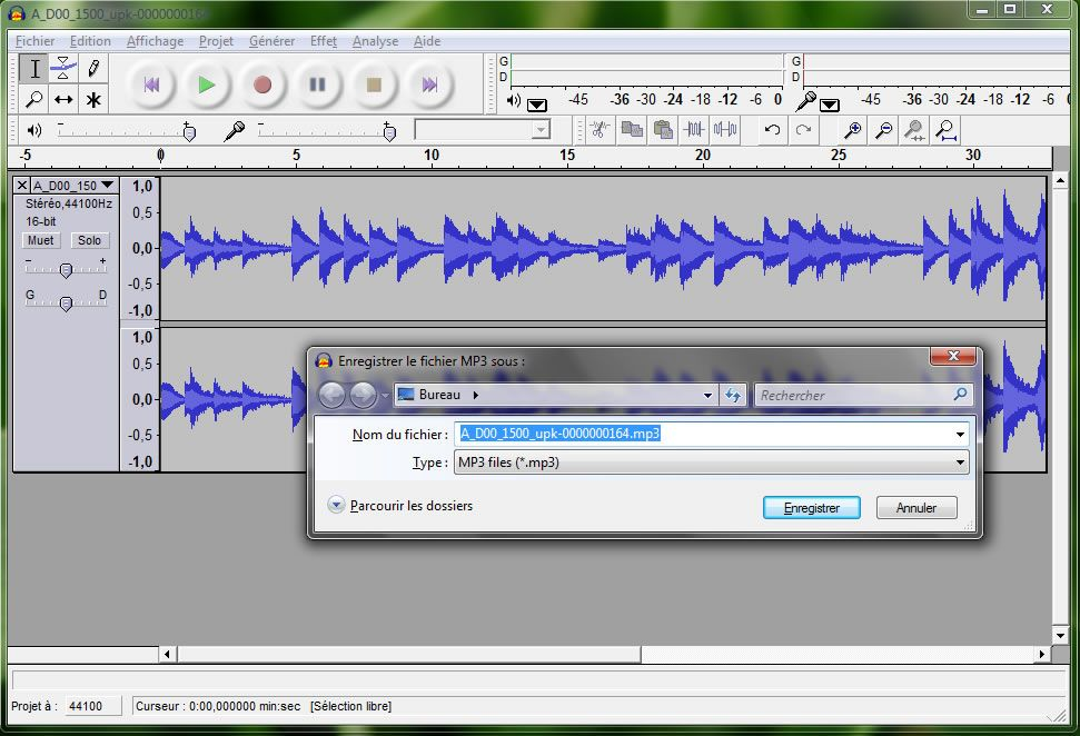 Capture d'écran - Extraction vers MP3 dans Audacity