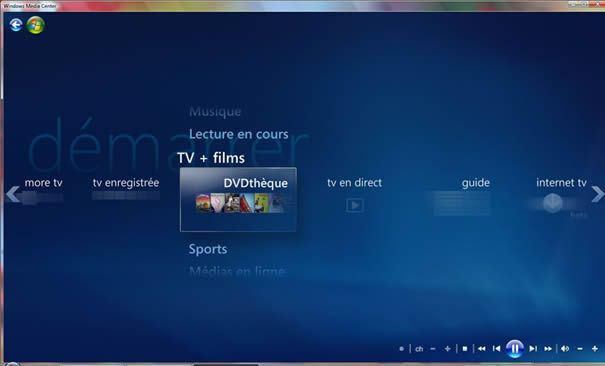 Capture d'écran - Windows Media Center, module DVDthèque