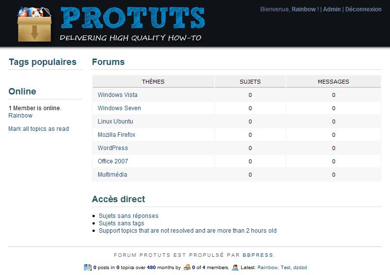 Capture décran de la page daccueil du Forum Protuts