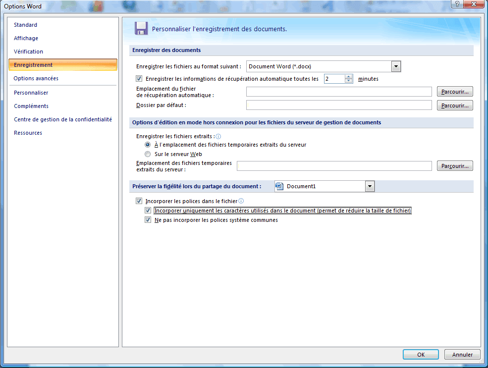 Options denregistrement de Word 2007